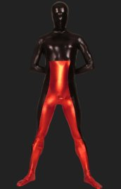 Black and Red Full-body Shiny Metallic Zentai Suits