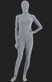 Black and White Dot Spandex Lycra Full Body Unisex Zentai Suit