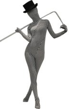Black and White Dots Spandex Lycra Zentai Suit