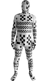 Black and White Pixel Grid Spandex Lycra Zentai Suit