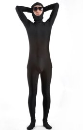 Black Open Face Zentai Suit