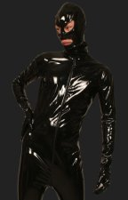 Black PVC Full Body Zentai Suits with Open Eyes and Mouth