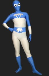 Blue and White Lycra Spandex Zentai Suit
