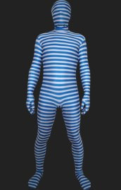Blue and White Strips Spandex Lycra Unisex Zentai Suits