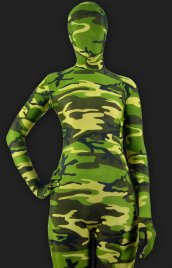 Camouflage Green Spandex Lycra Full-body Unisex Zentai Suit
