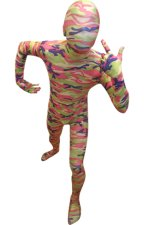 Camouflage Zentai Suit | Light Green and Pink Spandex Lycra Zentai Suit