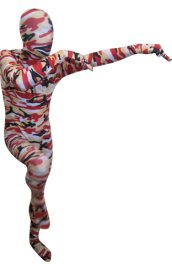 Camouflage Zentai Suit | Red and Black Spandex Lycra Zentai Suit