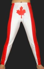 Canada! Red and White Spandex Lycra Tight Wrestling Pants