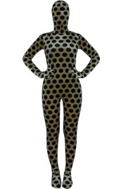 Coffee and Black Dots Thicken Velvet Zentai Suit