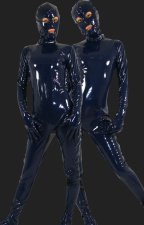 Dark Blue Full-body PVC Zentai Suit (Open Eyes and Mouth)