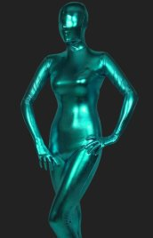 Dark Green Shiny Full Body Suit | Shiny Metallic Full-body Unisex Zentai Suits