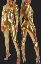 Gold Shiny Full Body Suit | Shiny Metallic Catsuit with Front Zipper