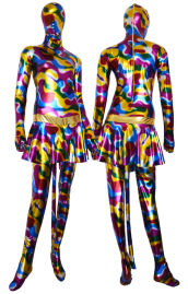 Multo-Color Shiny Metallic Zentai Suit with Skirt