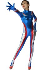 Pepsi Blue and Red Shiny Metallic Strips Catsuit