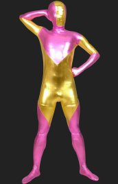 Pink and Gold Full-body Shiny Metallic Unisex Zentai Suits