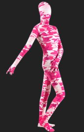 Pink Camouflage Spandex Lycra Full Body Unisex Zentai Suit