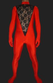 Red and Black Spandex Lycra and Lace Unisex Catsuit without Hood