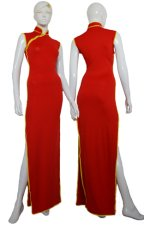 Red and Yellow Spandex Lycra Cheongsam Dress