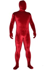 Red Thick Velvet Spandex Zentai Full Bodysuit