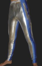 Silver and Blue Shiny Metallic Tight Wrestling Pants