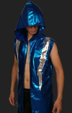 Silver and Blue Shiny Metallic Wrestling Hoodie