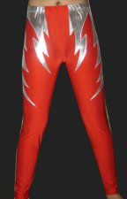 Silver and Red Shiny Metallic and Lycra Tight Wrestling Pants