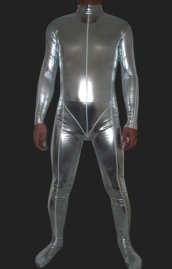 Silver Shiny Full Body Suits | Shiny Metallic Full Body Zentai Suit with Top Stitching