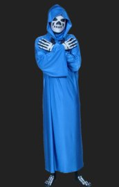 Skeleton Spandex Lycra Full Body Zentai with Robe