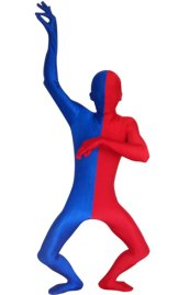 Split Zentai | Blue and Red Spandex Lycra Zentai Suit