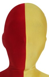 Split Zentai Mask | Red and Yellow