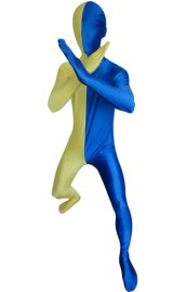 Split Zentai | Yellow and Blue Spandex Lycra Zentai Suit