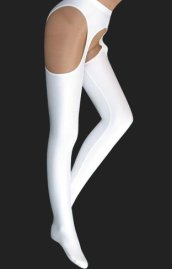 White Lycra Pantihoses with Open Crotch
