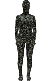Abstract Black Strips Thicken Velvet Zentai Suit