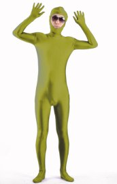 Army Green Open Face Zentai Suit