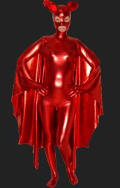 Bat Girl | Red Shiny Metallic Bodysuit with Wings