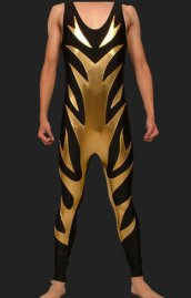 Black and Gold Spandex Lycra and Shiny Metallic Wrestling Singlets