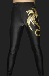Black and Gold Spandex Lycra Tight Wrestling Pants