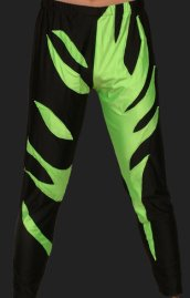 Black and Green Spandex Lycra Wrestling Pants