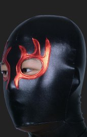 Black and Red Burning Flame Masquerade Zentai Hood