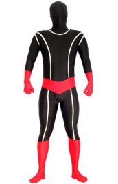 Black and Red Glow in Dark Spandex Lycra Zentai Suit