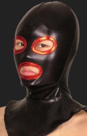 Black and Red Open Eyes and Mouth Halloween Zentai Hood