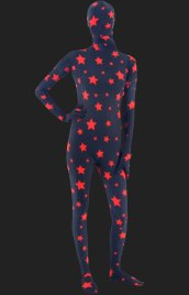 Black and Red Star Pattern Full-body Unisex Spandex Lycra Zentai Suit