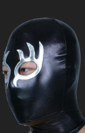Black and Silver Burning Flame Masquerade Zentai Hood