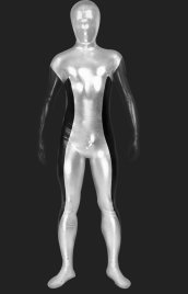 Black and Silver Shiny Metalic Unisex Zentai Suit