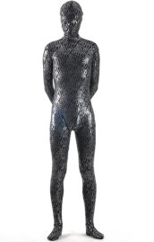 Black and Silver Shiny Metallic Strips Zentai Suit