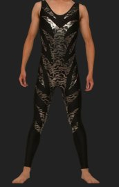 Black and Silver Spandex Lycra and Shiny Metallic Wrestling Singlets