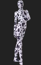 Black and White Cow Pattern Spandex Lycra Unisex Zentai Suit