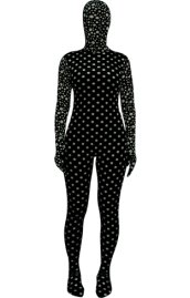 Black and White Dots Thicken Velvet Zentia Suit