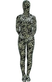 Black and White Leopard Thicken Velvet Zentai Suit
