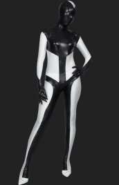Black and White Lycra Spandex and Shiny Metallic Unisex Full-body Suit